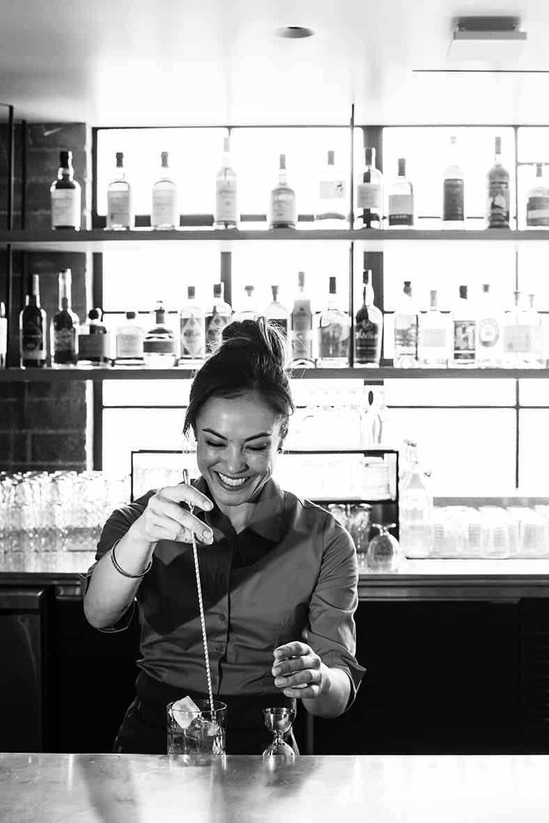 Bar Director Stephanie Reading making a cocktail